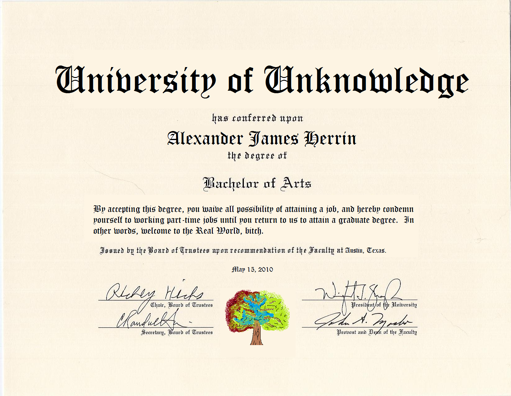 fake bachelor degree template | template